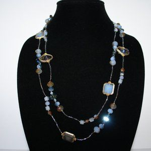 """Beautiful blue crystal and gold necklace 50"""""""
